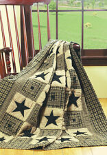 Olivia's Heartland country primitive Vintage Star Blk HandQuilted Throw Blanket