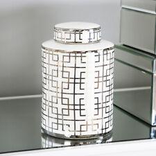 More details for white and silver round ceramic ginger jar storage decor display vase gift 20.6cm