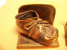 Vintage Baby Booties Bronzed Copper Book Ends Shoes Boots 1940s Pair