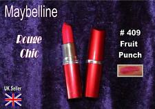 Maybelline ROUGE CHIC Lipstick 409 FRUIT PUNCH bright red pink 50s  moisturising