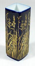 GEROLD PORZELLAN - 10cm gr. VASE Blumenvase Designervase - KOBALT-BLAU Gold