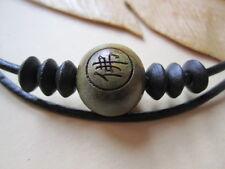 Mens Sandalwood Prayer Bead Mala Bead Adjustable Black Leather Surf Necklace