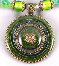Ethnic Dance Indian Tribal Ashanti Green Cloisonné Pharaoh Cleo Choker Necklace