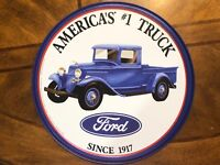 "America's #1 Truck Ford Since 1917 12"" ROUND METAL WALL SIGN Garage Mancave"