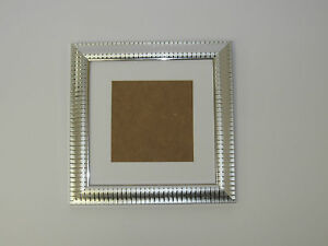 Two Tone Silver 6x6 Square Picture Photo Frame Mount 4x4 Hang