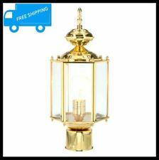 Outdoor Post Lantern Polished Brass Glass Lamp Pole Light Fence Gate Landscape