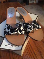 Coach Havana 9.5 M NWT Silver Wedge Silk Sandal Slides Black White Logo Shoes