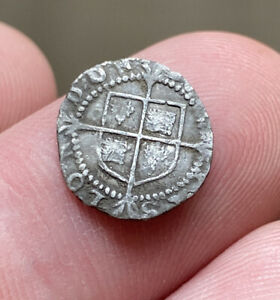 QUEEN ELIZABETH 1st silver hammered PENNY Mm Hand
