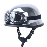 DOT German Motorcycle Helmet Half Face w/Goggles Chrome Silver Scooter Chopper