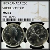 1953 Canada Silver 25C Shoulder Fold Variety NGC MS63 BU Unc Strap Quarter Coin