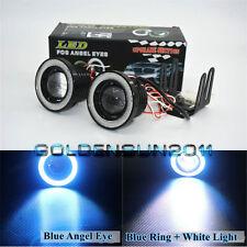 "2x High Power 3.0"" LED Fog Lights Projector W/ COB Blue Halo Angel Eye Rings Car"