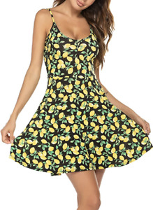 ACEVOG Women's Black Lemon Print Sundress Size L