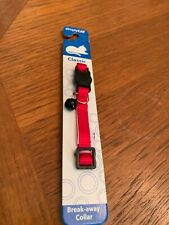 """SIMPLY CAT BREAK-AWAY Classic COLLAR Red With Bell 7-11"""" Kitty Kat NEW"""