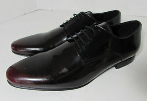 $115 Steve Madden Mens Neves Patent Ombre Dress Oxford Shoes, Black/Red, US 11