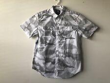 NWT Ecko Unlimited Mens Short Sleeve White & Grey Camo Shirt Button Down sz L