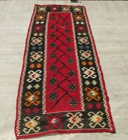 Vintage Flatwoven Wool Area Rug 3x6ft Authentic Anatolian Floral Red Floor Kilim