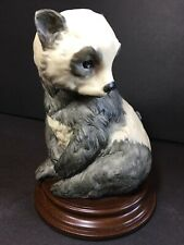 "A. Santini Panda Sculpture 7"" Wood Base Alabaster Stone Carved Figurine Italy"