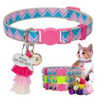 Breakaway Personalized Dog Cat Collars for Pet Puppy Kitten Bell Tassel & ID Tag