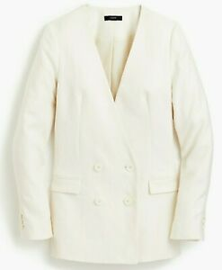 $158 NWT J.CREW Sz 2 FRENCH GIRL BUTTON FRONT LINEN BLAZER JACKET IN IVORY