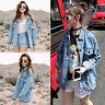 Retro Women Boyfriend Oversize Loose Jacket Casual Denim Jeans Coat Outwear S-XL