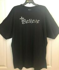 """BELIEVE"" Black Tee Shirt - Rhinestone Embellished w/Cross - 2X - Ex.Cond"