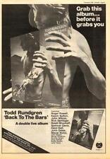 Todd Rundgren Back To The Bars UK show advert 1978