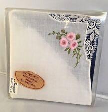 Vintage Brussels Belgium Handmade Pink Flower Handkerchief Hankie Box and Tag