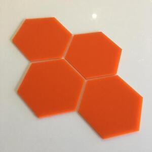 "Orange Gloss Acrylic Hexagon Crafting Mosaic/Wall Tiles Sizes 1cm-20cm, 1""-7.9"""
