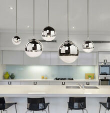 Simple Plating Glass Pendant Light Space Ball Hanging Lamp Mirror Chandelier