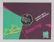 ROWING - Rare 50p Olympic LONDON 2012 Fifty Pence Uncirculated Coin in Folder