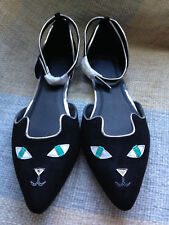 ASOS cat face black ankle strap pointed toe ballet flats pointy shoe kitty 7 NEW