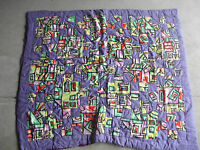 """Vintage 1980s Purple Abstract Patch Design Small Quilt 54 x 45"""""""