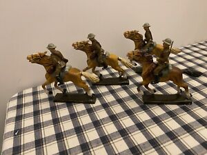 Lineol German British Soldiers Riding Horses X4