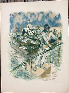FONTANAROSA Lucien Lithographie litografia signée EA Venise Venezia Gondoliere *