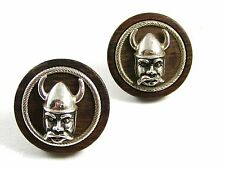True Vintage Wood Metal Norseman Viking Cufflinks By SWANK 102414