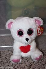 "Ty Beanie Boos ~ Valentine SWEETLY the Bear with Heart~ 6"" ~ MWMT VHTF 2013"
