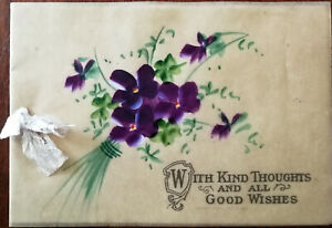 With Kind Thoughts and All Good Wishes Vintage Floral Greeting Card with Ribbon