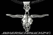 """Totenkopf Anhänger """"Big Long Horn Bull Skull""""  XL Edelstahl mit Flecht-Lederband"""