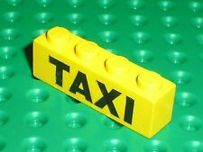 LEGO VINTAGE yellow brick with TAXI Pattern ref 3010p11 / Set 368 Taxi Station