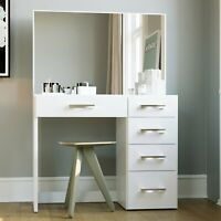 Modern Vanity Table with Mirror and 5 Drawers, White finish