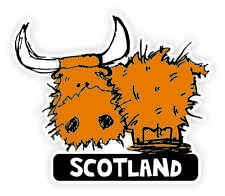 Scottish Car Bumper Sticker Decal Vinyl Scotland Toffee Highland Coo Cow