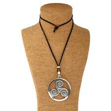 1pcs Large Antique Silver Round Triskele Triskelion Charm Pendant Necklace Gift