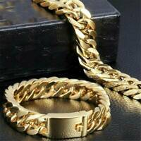 Men's Heavy Solid Stainless Chunky Bracelet Cuban Curb Link Chain Gold 14mm