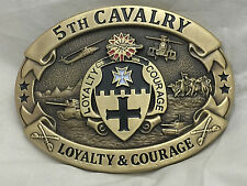 5th Cavalry Loyalty and Courage Army Solid Brass Belt Buckle (Oval)