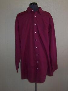 Men's Stafford Travel Broadcloth Long Sleeve Maroon Shirt 18 Tall