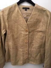 Lafayette 148 Sahar Linen & Silk Blend Blazer Jacket Sze 12 Khaki