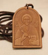 UKRAINIAN ORTHODOX BODY MEDALLION Leather Icon of Saint Panteleimon the Healer