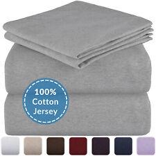 Mellanni Jersey Cotton Sheets w/ Deep Pockets, T-Shirt Knit Bed Set (4-Piece)