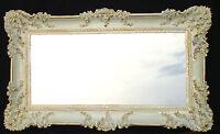 Wandspiegel Rechteckig Weiß Gold Dual BAROCK WANDDEKO Antik Spiegel 96x57cm