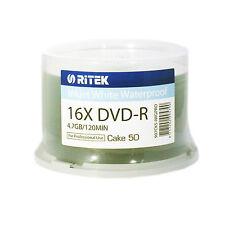 RITEK DVD-R FULL WHITE PRINTABLE INKJET (16x) 4.7 GB 120MIN 50pk SPINDLE